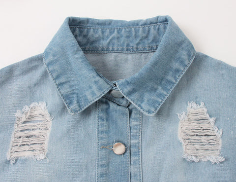 Sexy Ripped Hole Denim Jacket