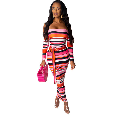 """Lovely"" Stripe Print Maxi Dress"