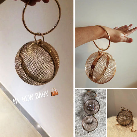 """Lovely"" Hollow Metal Ball shoulder bag"