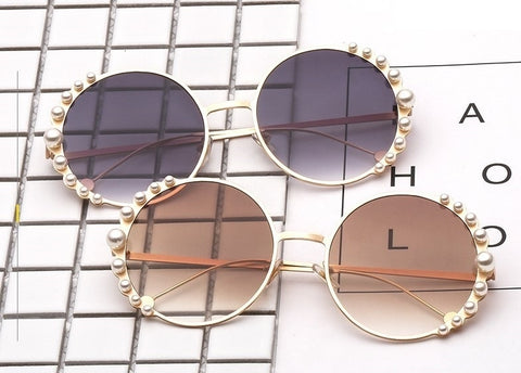 White Pearl Round Sunglasses