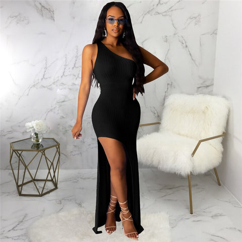 Sexy Asymmetrical Ribbed Dress