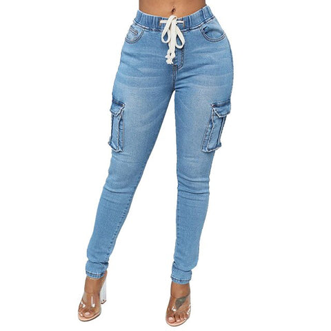 """Sexy"" Drawstring Straight Jeans Pants"