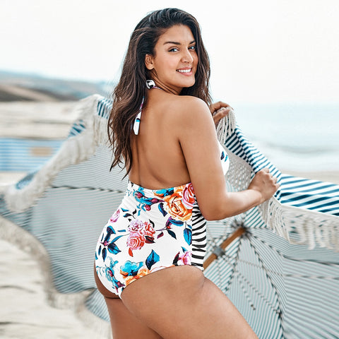 """Soso"" Plus Size Floral and Stripe Swimwear"