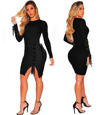 """so so"" Lace Up Bandage autumn dress"