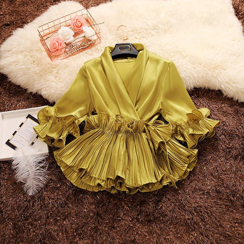 """Ruffle's Up"" Chiffon Shirt"