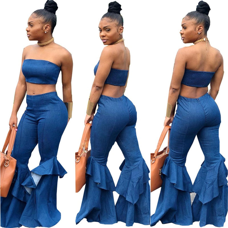 Denim Two Piece Strapless Crop Top - So So Boujee