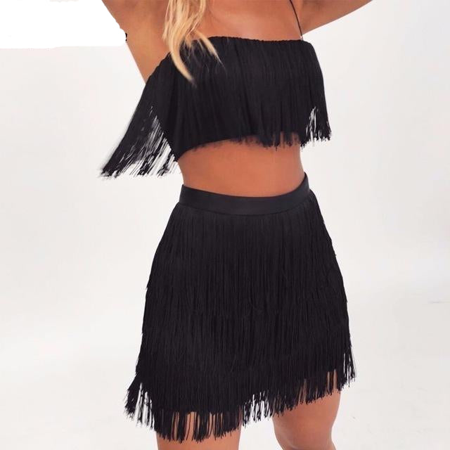 """Mingle with Me"" Skirt Set with Tassels"