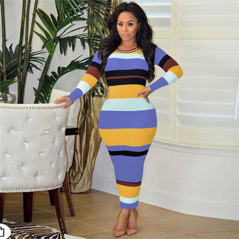 Colorful Striped Print autumn dress