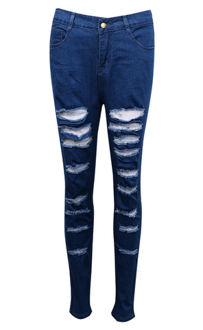 """hot"" Denim Ripped Pants"