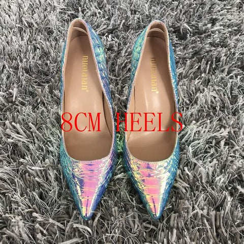 """Kendall""  Iridescent Pointed Toe Pumps - So So Boujee"
