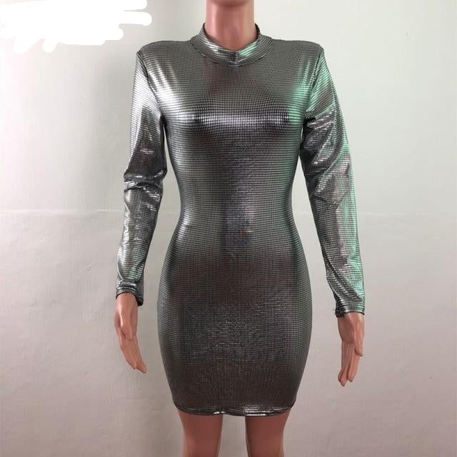 Sequins Sexy Long Sleeve Wrap Bodycon Mini Dress - So So Boujee