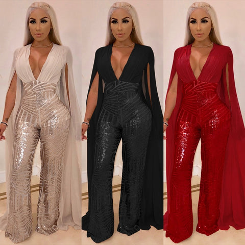 """Ariel"" Sexy Glittery Romper with Sheer Cape Sleeves - So So Boujee"