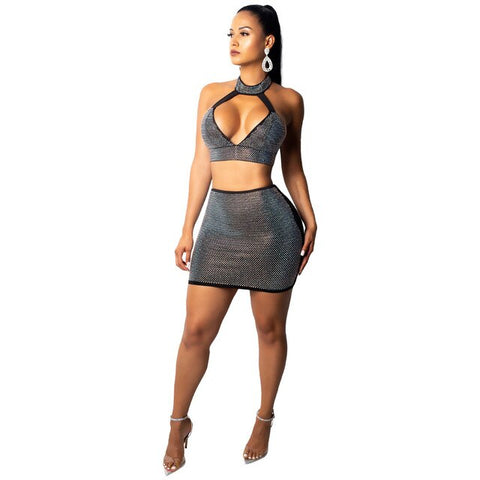 """Strip Tease"" Sexy Diamond Two Piece Sleeveless Mini Skirt Set - So So Boujee"