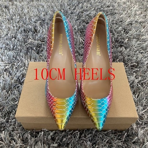Sexy Colorful Rainbow Print Heels - So So Boujee