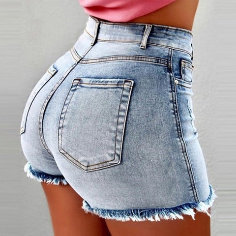 Women Sexy high waist Ripped Shorts  Jeans - So So Boujee