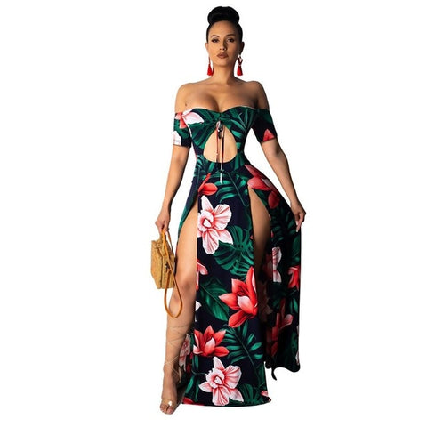 HAOYUAN Boho Printed Summer Beach Maxi Dress Strapless Off Shoulder Sexy High Slit Sundress Womens Robe Hollow Out Long Dresses - So So Boujee