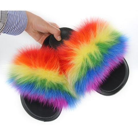 """Lovely"" Slides Fox Hair Flip Flops"