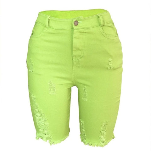 Neon Green Denim Biker High Waist Stretch with Hole - So So Boujee