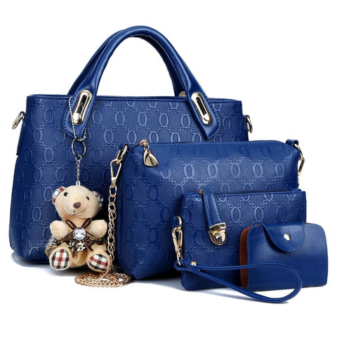 Bear Pendant PU Leather Hand bag - So So Boujee