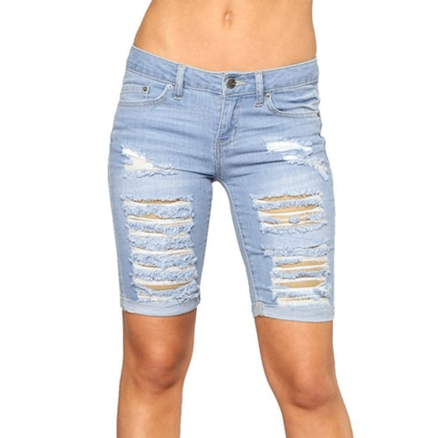 Sexy Destroyed Hole Skinny Capris Jeans - So So Boujee