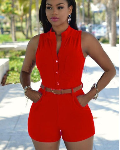 sexy off shoulder button decoration waist belted jumpsuit
