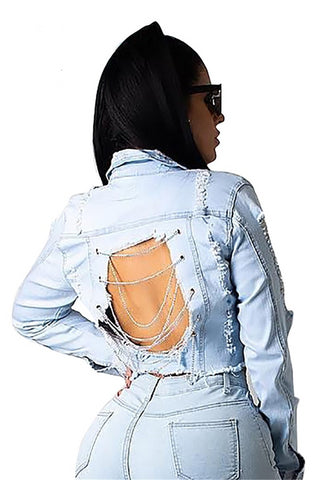 """Dirty Diana"" Denim Chain Links Jacket"