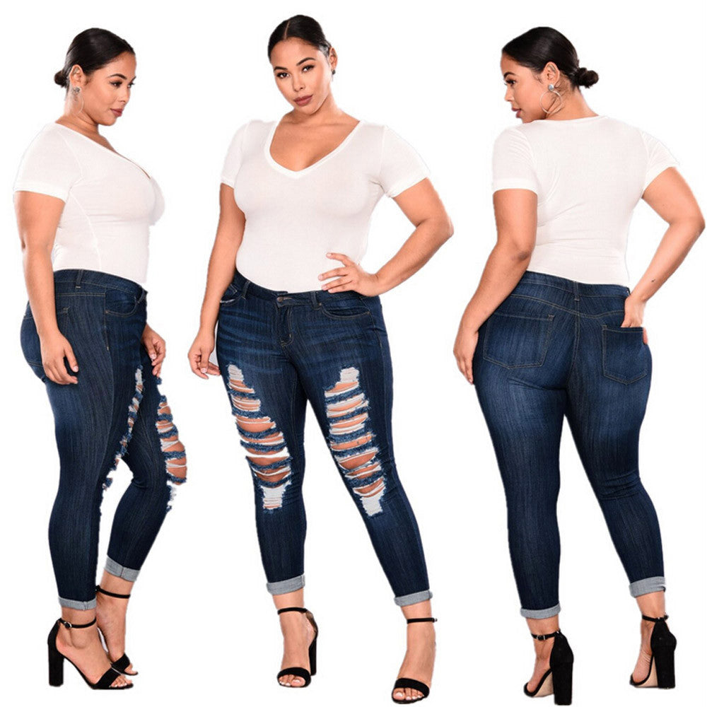 Dark Plus Size Ripped Jeans
