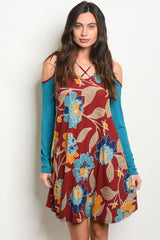 BURGUNDY & BLUE FLORAL COLD SHOULDER DRESS