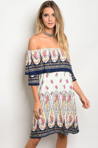 Picture of D3059-OFF SHOULDER PRINTED DRESS