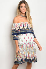 D3059-OFF SHOULDER PRINTED DRESS