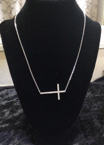 Picture of N233- RHODIUM NECKLACE WITH CZ CROSS PENDANT