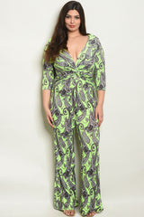 Neon Green and Black Plus Size Jumpsuit