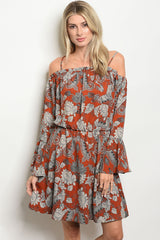 RUST  & CREAM FLORAL ELASTIC WAIST DRESS