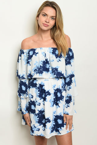 Picture of Navy Blue and cream Layerded off shoulder Dress