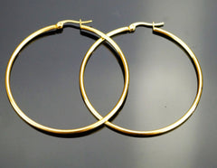 LARGE FLAT GOLD FILLED HOOP EARRING