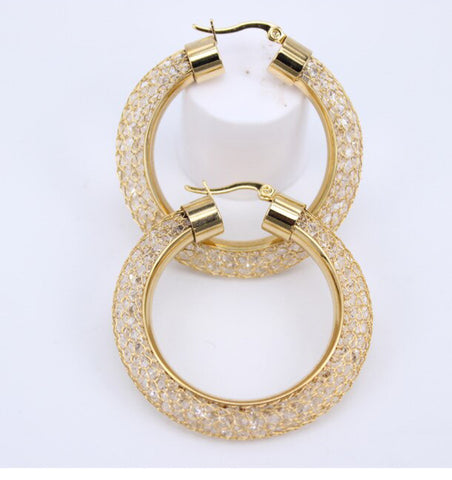 Picture of B180 Beautiful Mesh Gold And rhodium Hoops