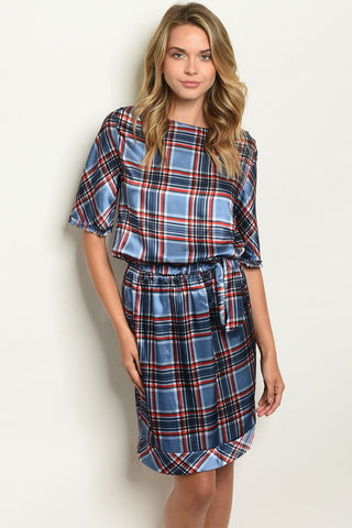Picture of D750 Blue white and Black  checkard Dress