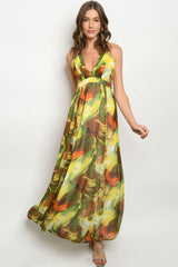 Beautiful Yellow and Green Printed Maxi Dress