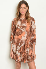 D695 Brown and Peach shift Dress with pockets