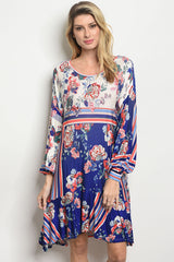 BEAUTIFUL ROYAL BLUE FLORAL DRESS