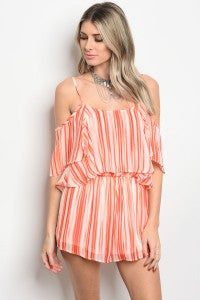 Picture of PRETTY  ORANGE AND WHITE OFF SHOULDER ROMPER