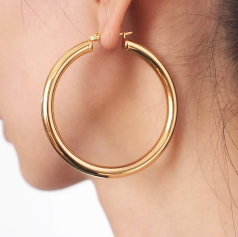 Picture of E899-GOLD THICK HOOP EARRING