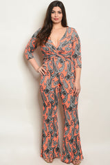 Coral and Black Paisely Plus size Jumpsuit