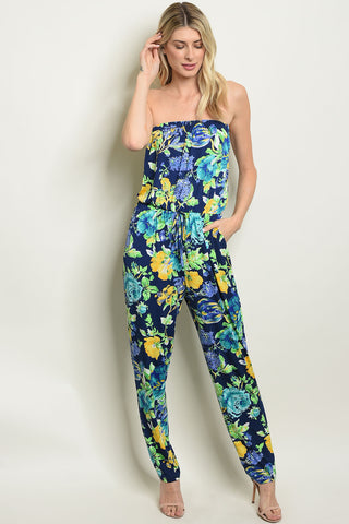 Picture of NAVY FLORAL TUBE TOP JUMPSUIT