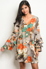 BEAUTIFUL EARTH TONE FLORAL BELL SLEEVE DRESS