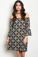D4157-NAVY AND GREEN PATTERN OF SHOULDER DRESS
