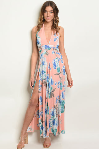 Picture of PEACH & LIGHT BLUE ROMPER HALTER DRESS