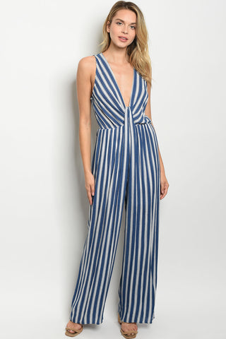 Picture of J475 Blue and White Low cut Vneck Open Back Jumpsuit