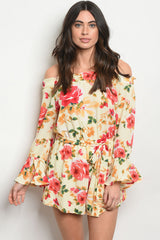 LIGHT YELLOW FLORAL ROMPER