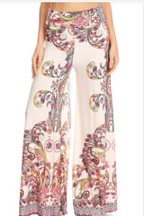 P1378- WHITE MULTI PRINT  PALLAZO PANTS